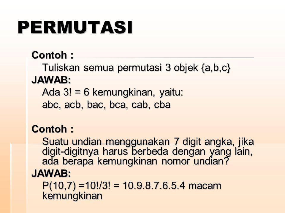 PERMUTASI Contoh : Tuliskan semua permutasi 3 objek {a,b,c} JAWAB: