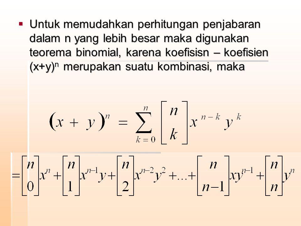 Untuk memudahkan perhitungan penjabaran dalam n yang lebih besar maka digunakan teorema binomial, karena koefisisn – koefisien (x+y)n merupakan suatu kombinasi, maka