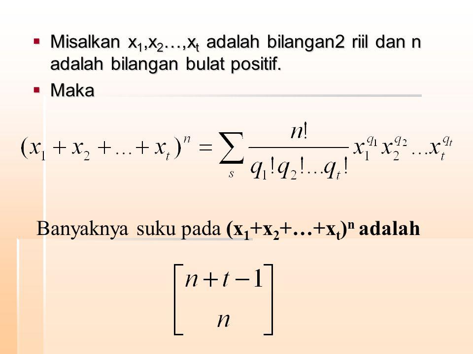 Banyaknya suku pada (x1+x2+…+xt)n adalah