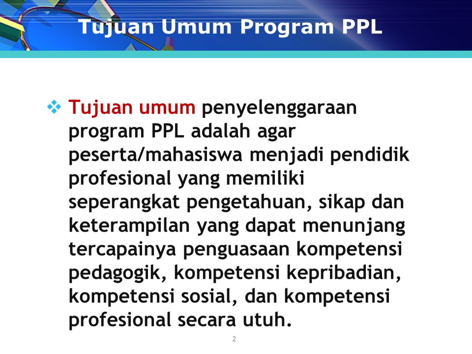 Tujuan Umum Program PPL