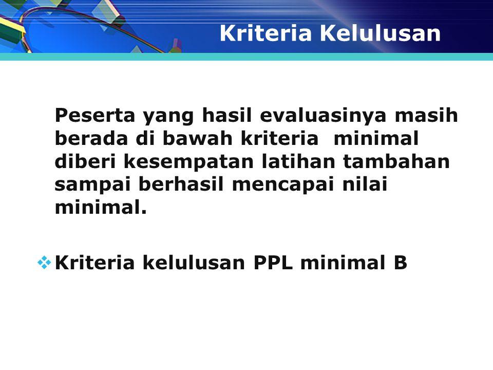 Kriteria Kelulusan Kriteria kelulusan PPL minimal B