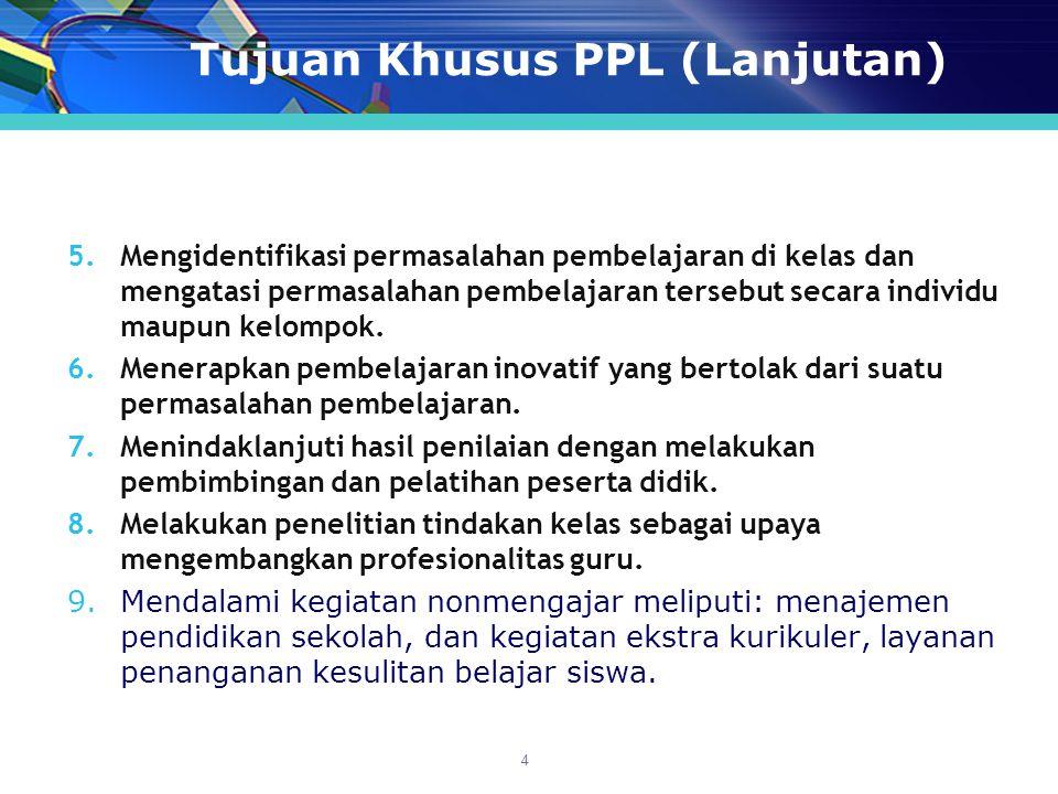 Tujuan Khusus PPL (Lanjutan)