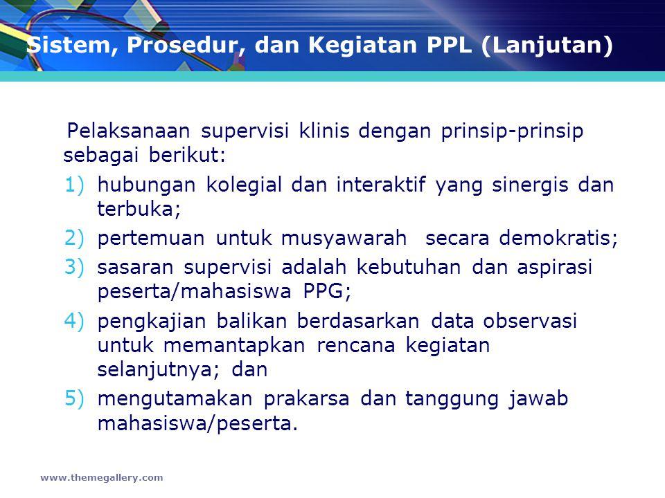 Sistem, Prosedur, dan Kegiatan PPL (Lanjutan)