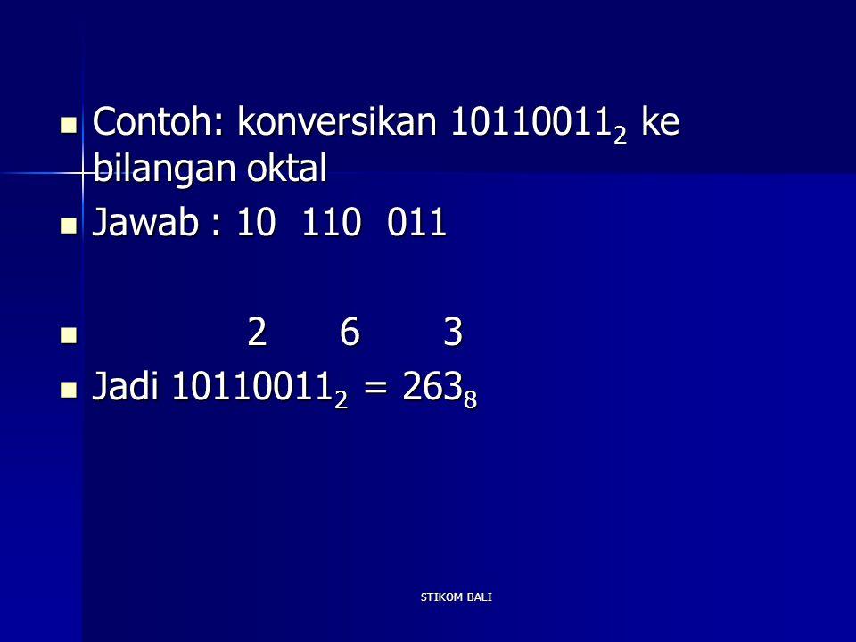 Contoh: konversikan 101100112 ke bilangan oktal Jawab : 10 110 011