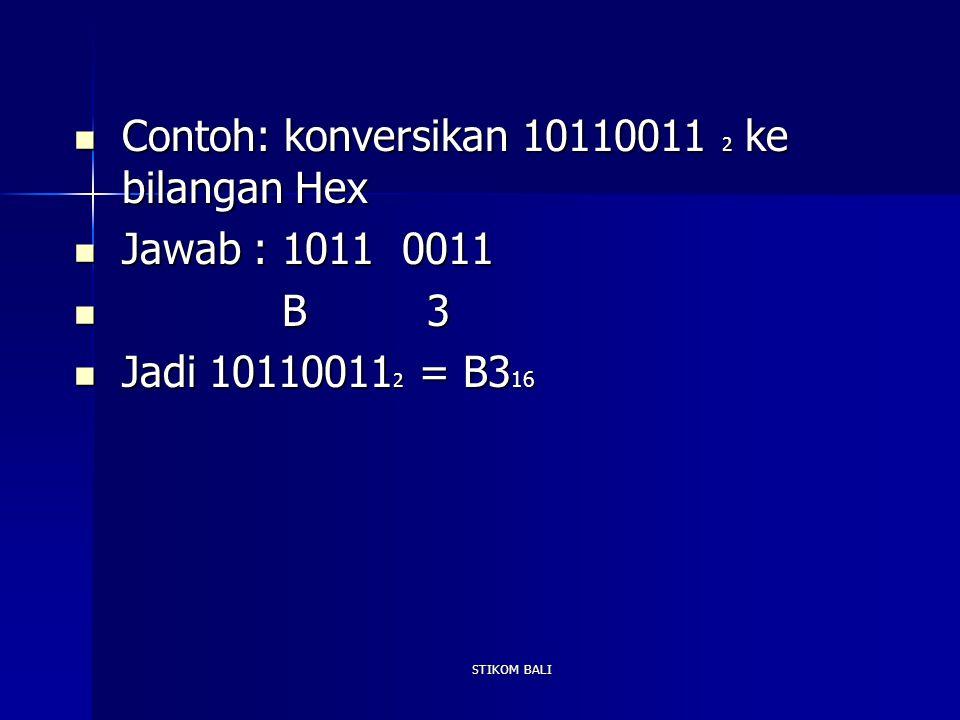 Contoh: konversikan 10110011 2 ke bilangan Hex Jawab : 1011 0011 B 3