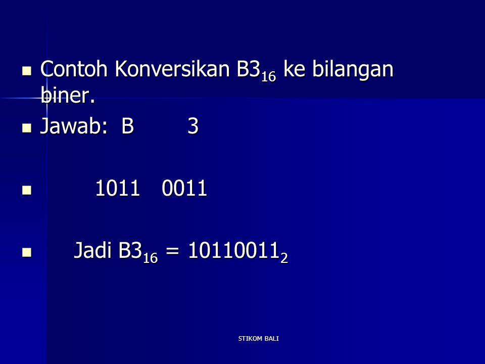 Contoh Konversikan B316 ke bilangan biner. Jawab: B 3 1011 0011