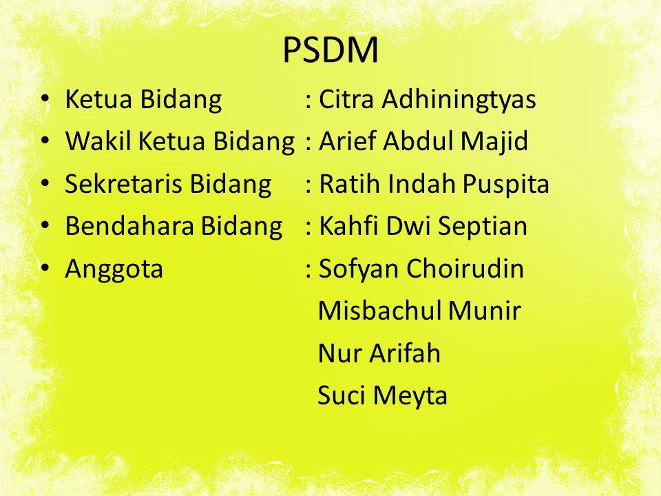 PSDM Ketua Bidang : Citra Adhiningtyas