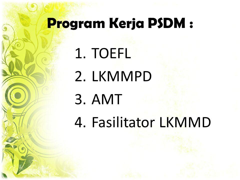 Program Kerja PSDM : TOEFL LKMMPD AMT Fasilitator LKMMD