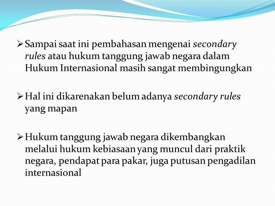 Sampai saat ini pembahasan mengenai secondary rules atau hukum tanggung jawab negara dalam Hukum Internasional masih sangat membingungkan