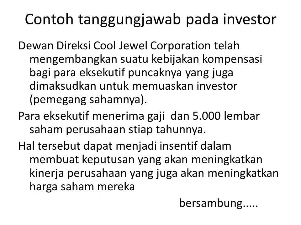 Contoh tanggungjawab pada investor