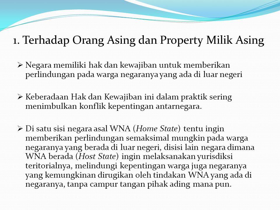 1. Terhadap Orang Asing dan Property Milik Asing