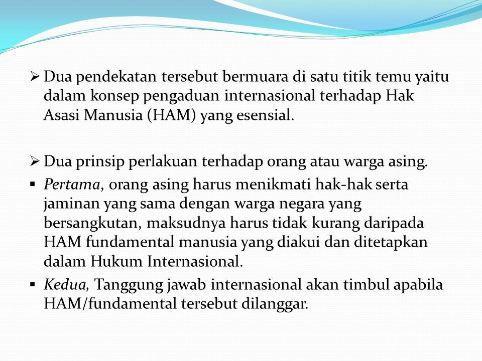 Dua pendekatan tersebut bermuara di satu titik temu yaitu dalam konsep pengaduan internasional terhadap Hak Asasi Manusia (HAM) yang esensial.