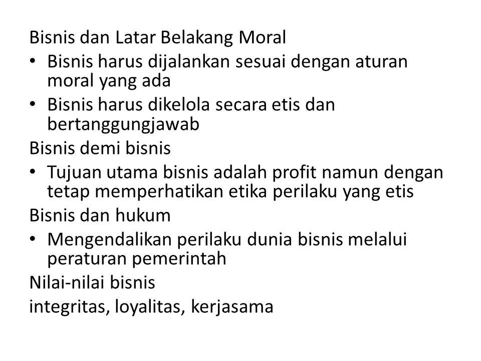 Bisnis dan Latar Belakang Moral
