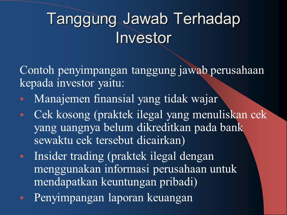 Tanggung Jawab Terhadap Investor