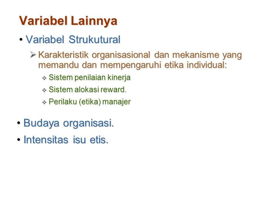 Variabel Lainnya Variabel Strukutural Budaya organisasi.