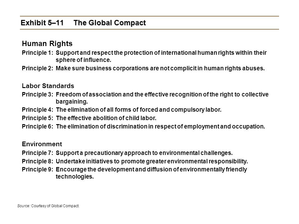 Exhibit 5–11 The Global Compact