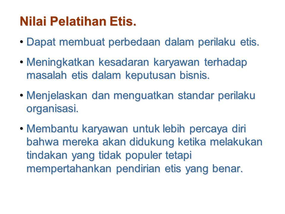 Nilai Pelatihan Etis. Dapat membuat perbedaan dalam perilaku etis.