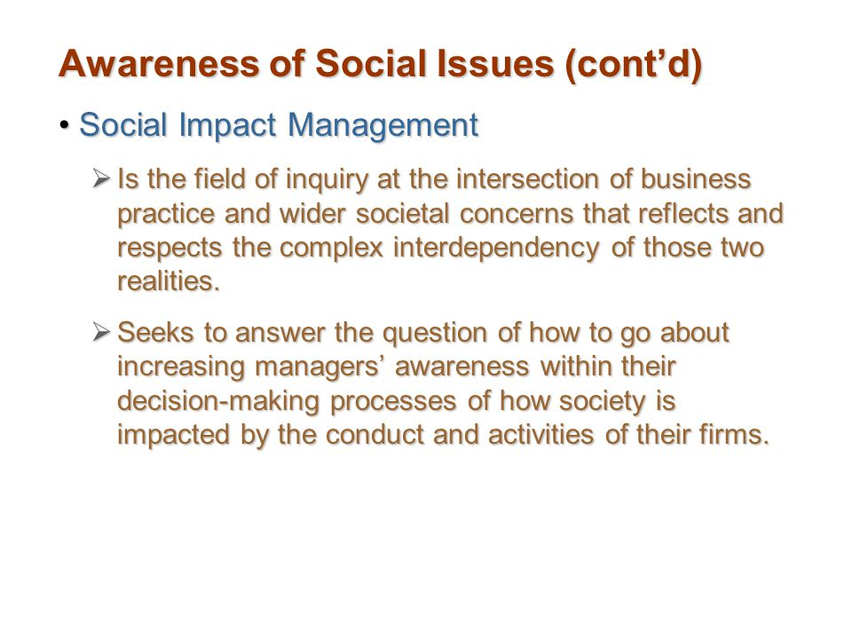 Awareness of Social Issues (cont'd)
