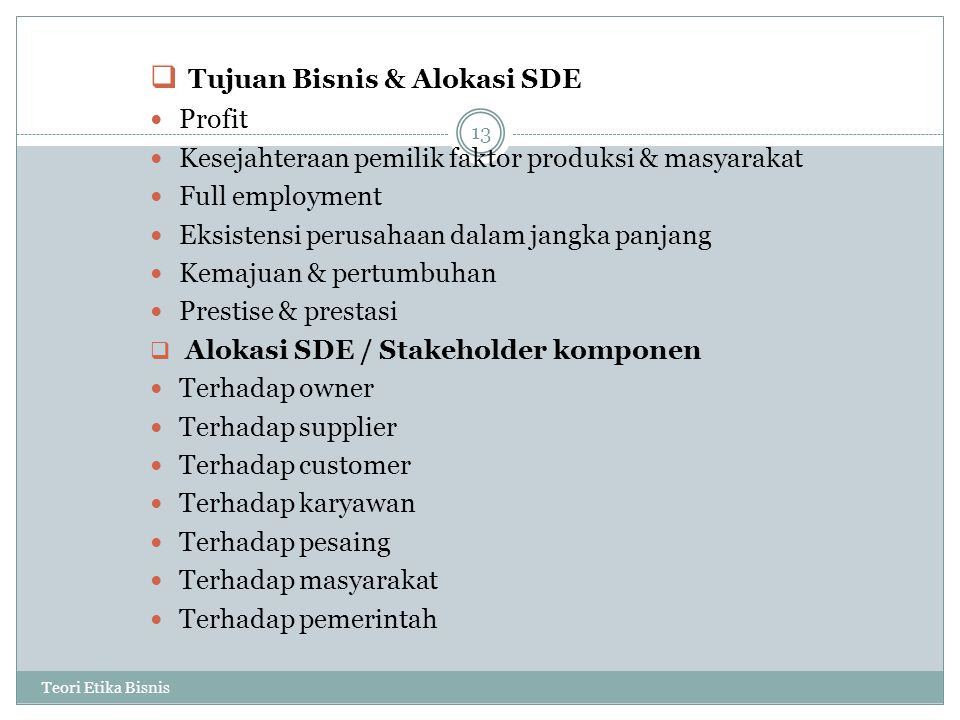 Tujuan Bisnis & Alokasi SDE