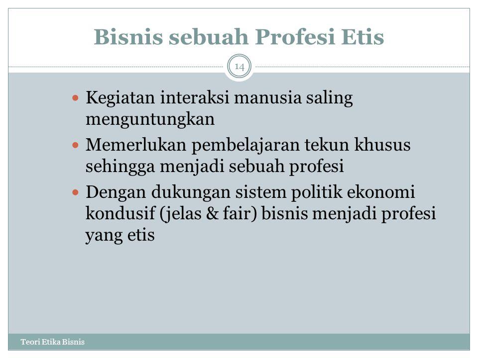 Bisnis sebuah Profesi Etis