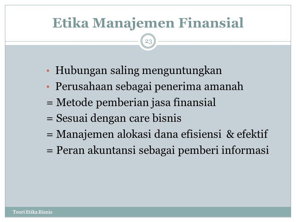 Etika Manajemen Finansial
