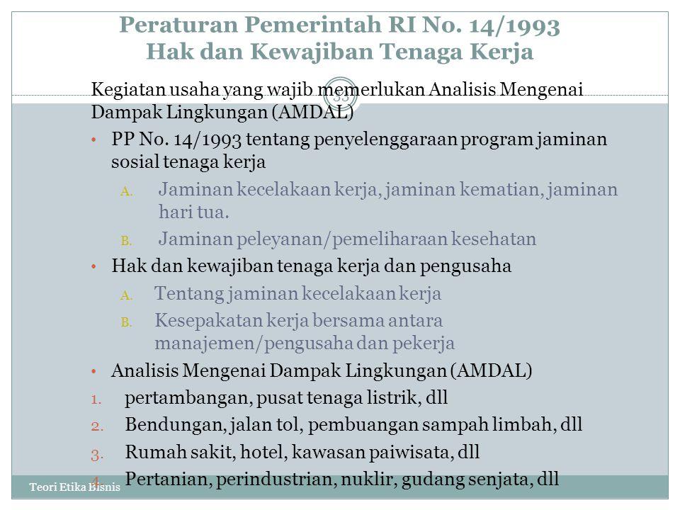 Peraturan Pemerintah RI No. 14/1993 Hak dan Kewajiban Tenaga Kerja