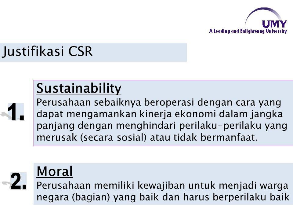 1. 2. Justifikasi CSR Sustainability Moral