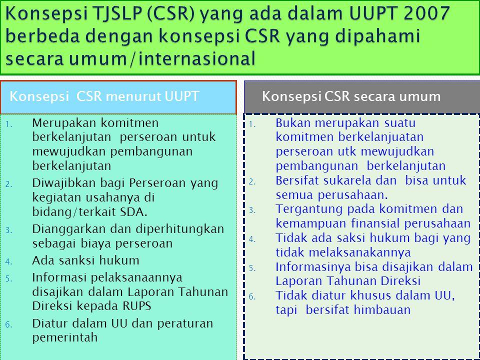 Konsepsi TJSLP (CSR) yang ada dalam UUPT 2007 berbeda dengan konsepsi CSR yang dipahami secara umum/internasional
