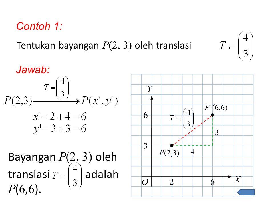 Bayangan P(2, 3) oleh translasi adalah P(6,6). Contoh 1: