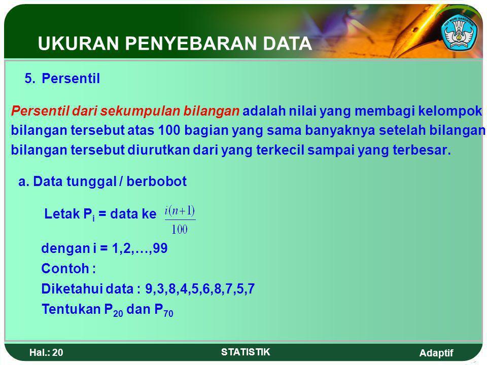 5. Persentil UKURAN PENYEBARAN DATA
