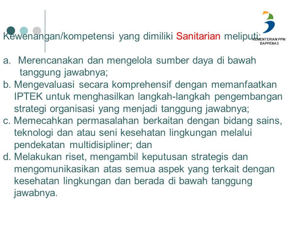 Kewenangan/kompetensi yang dimiliki Sanitarian meliputi: