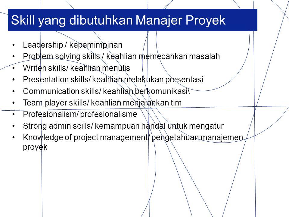 Skill yang dibutuhkan Manajer Proyek