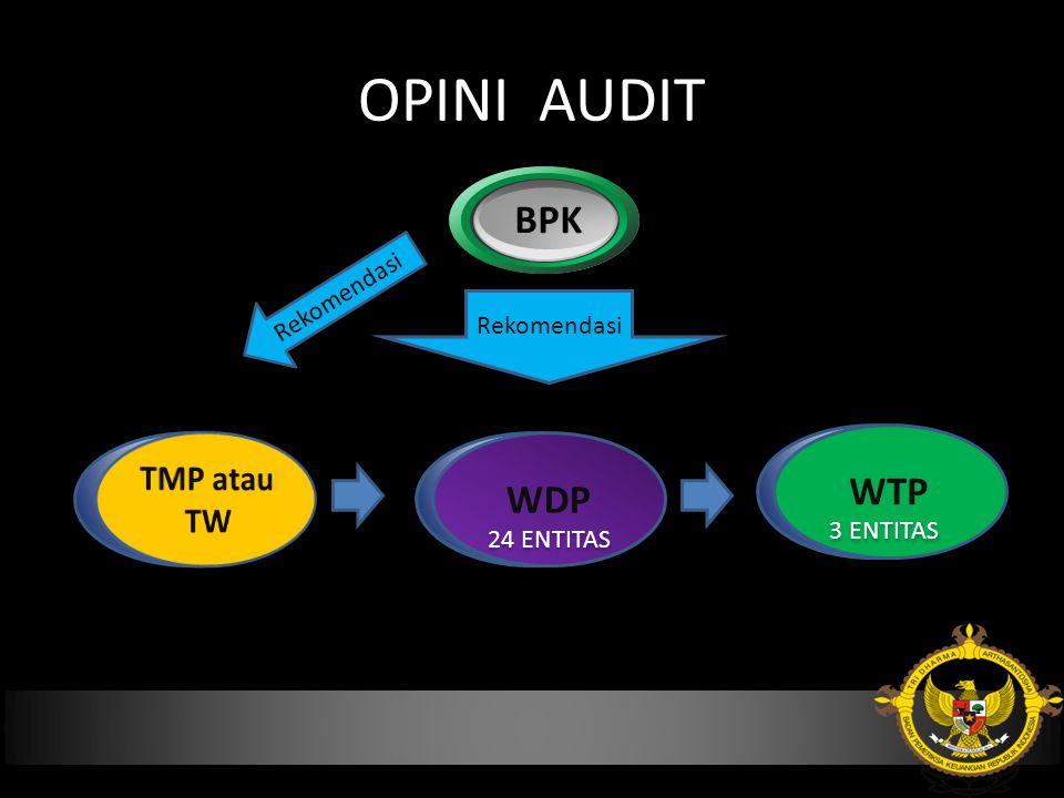 OPINI AUDIT BPK TMP atau TW WTP WDP WDP Rekomendasi Rekomendasi