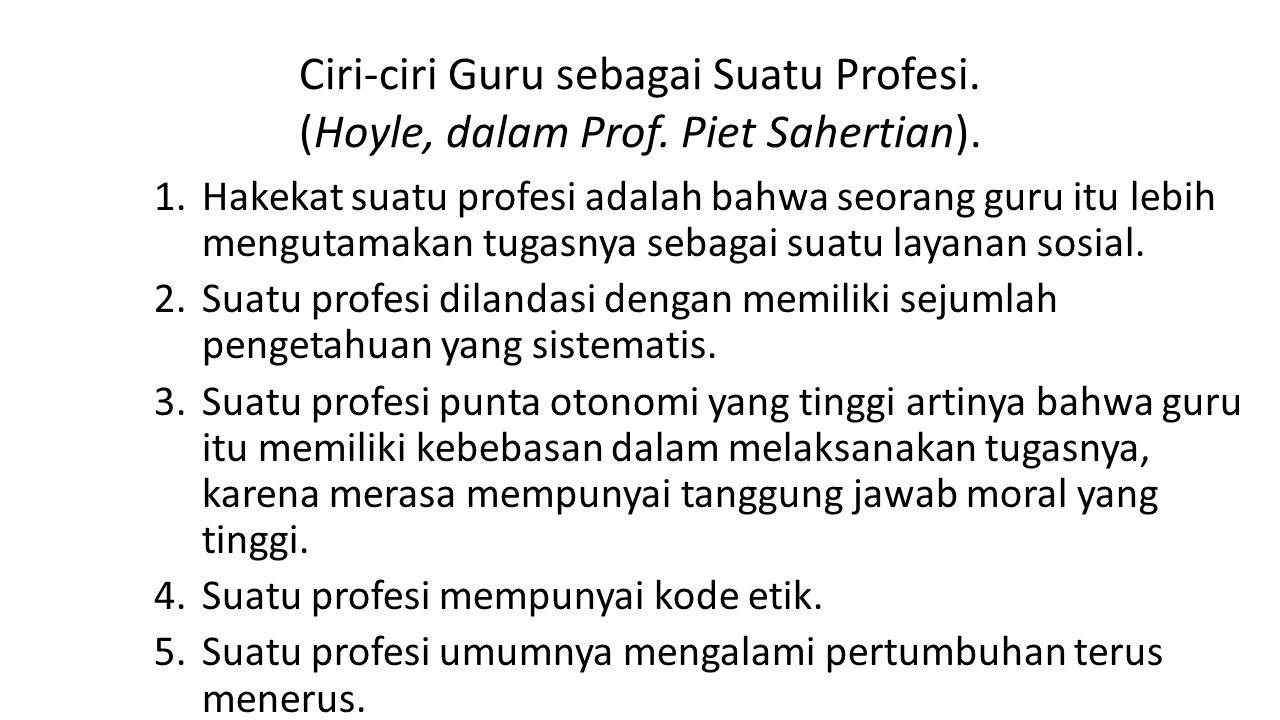 Ciri-ciri Guru sebagai Suatu Profesi. (Hoyle, dalam Prof