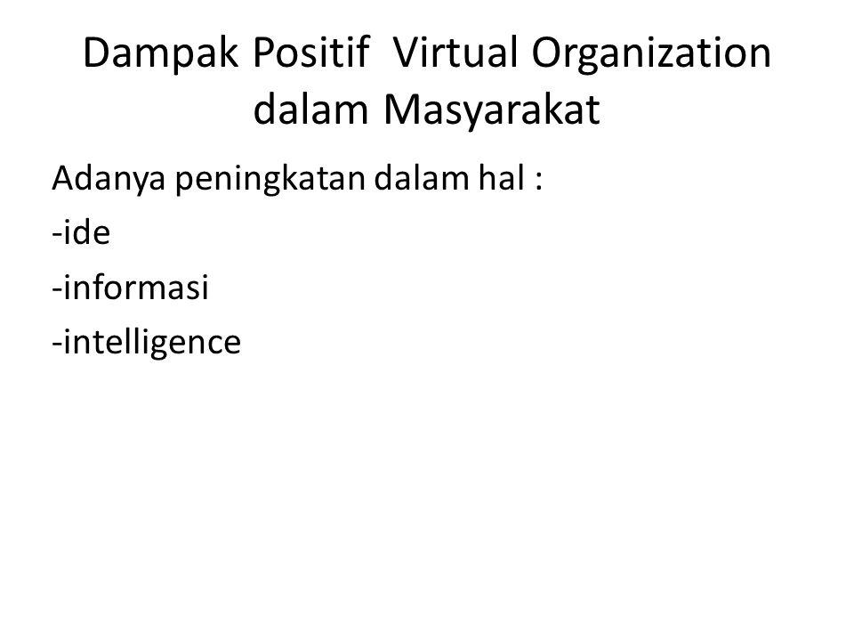 Dampak Positif Virtual Organization dalam Masyarakat