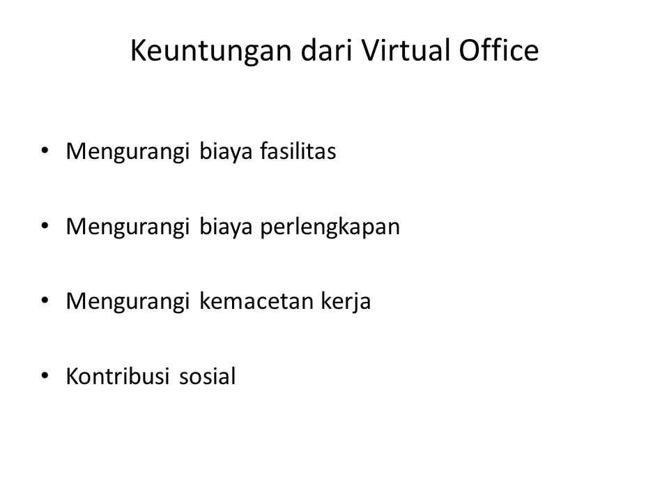 Keuntungan dari Virtual Office