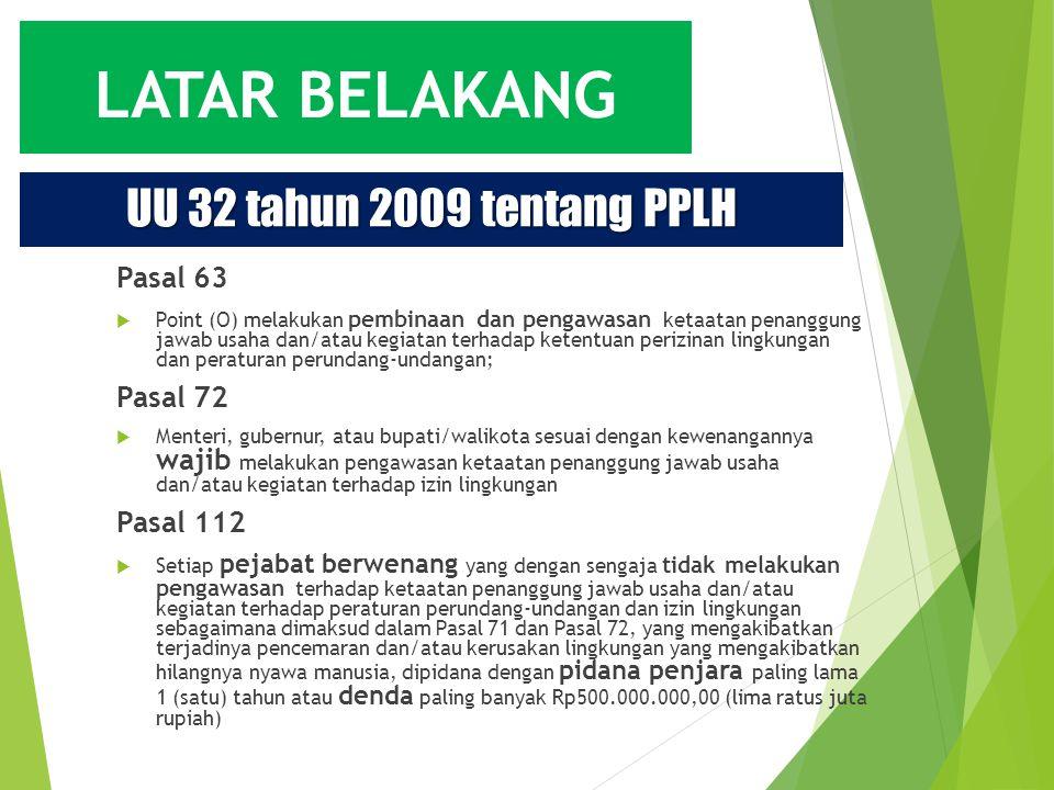 UU 32 tahun 2009 tentang PPLH Pasal 63 Pasal 72 Pasal 112
