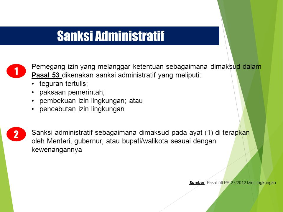 Sanksi Administratif Pemegang izin yang melanggar ketentuan sebagaimana dimaksud dalam Pasal 53 dikenakan sanksi administratif yang meliputi: