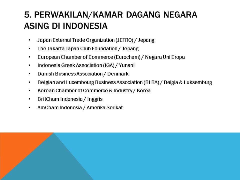 5. perwakilan/kamar dagang negara asing di indonesia