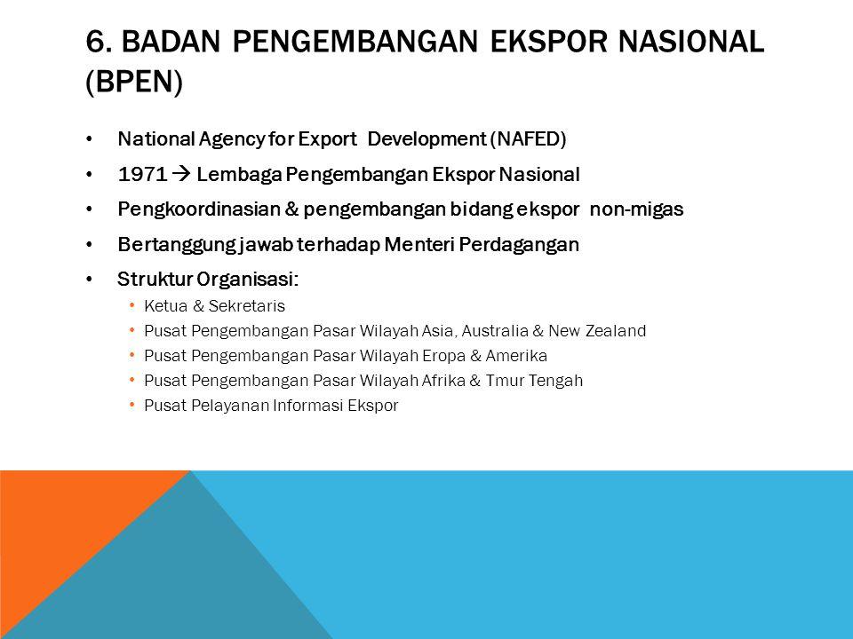 6. Badan pengembangan ekspor nasional (BPEN)
