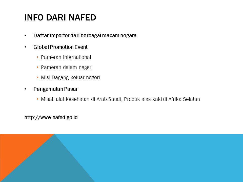 Info dari nafed Daftar Importer dari berbagai macam negara