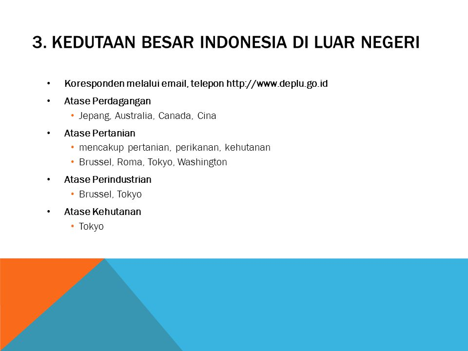 3. Kedutaan besar indonesia di luar negeri