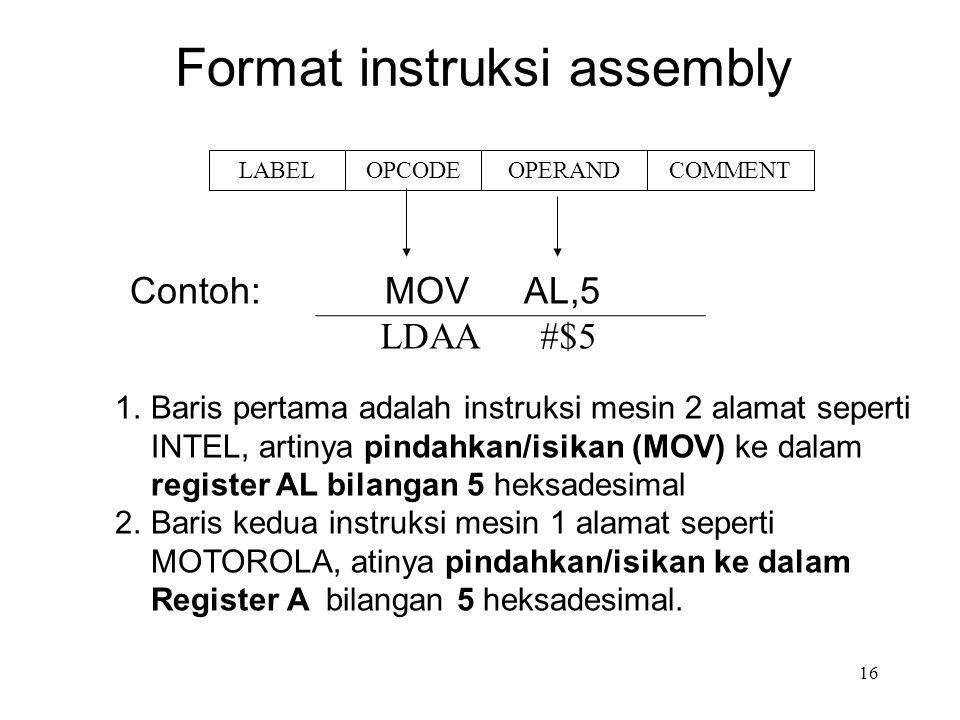 Format instruksi assembly