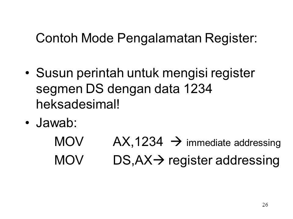 Contoh Mode Pengalamatan Register: