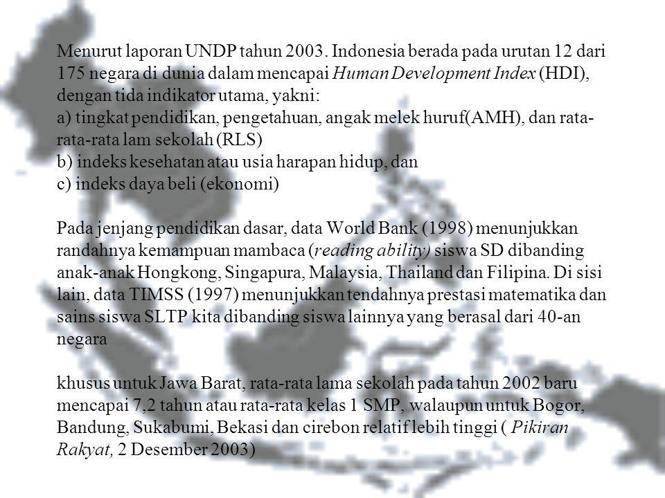 Menurut laporan UNDP tahun 2003