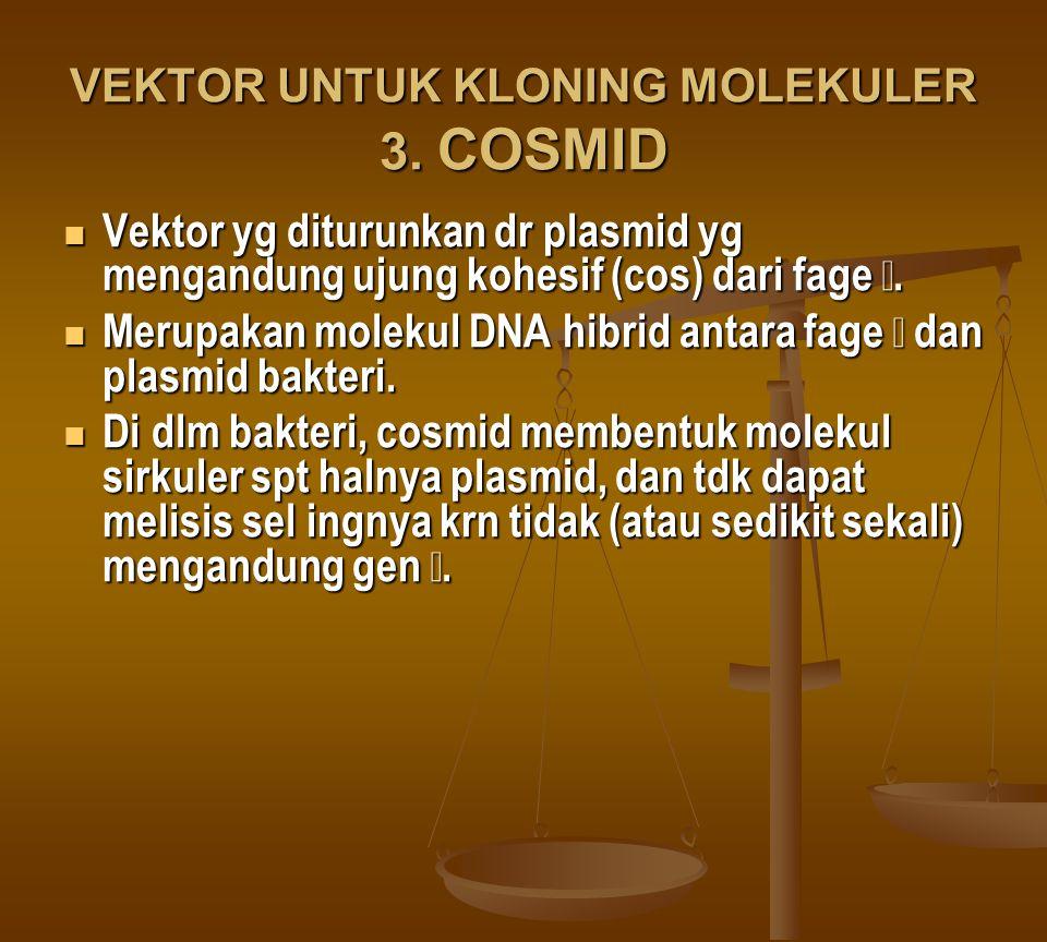 VEKTOR UNTUK KLONING MOLEKULER 3. COSMID