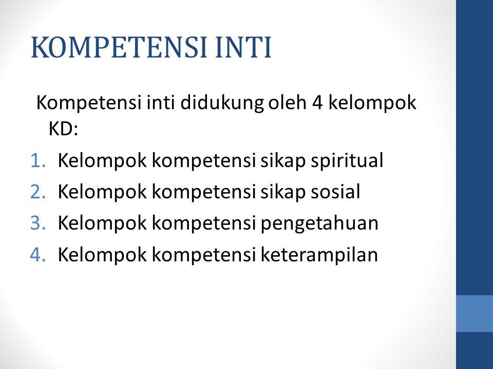 KOMPETENSI INTI Kompetensi inti didukung oleh 4 kelompok KD: