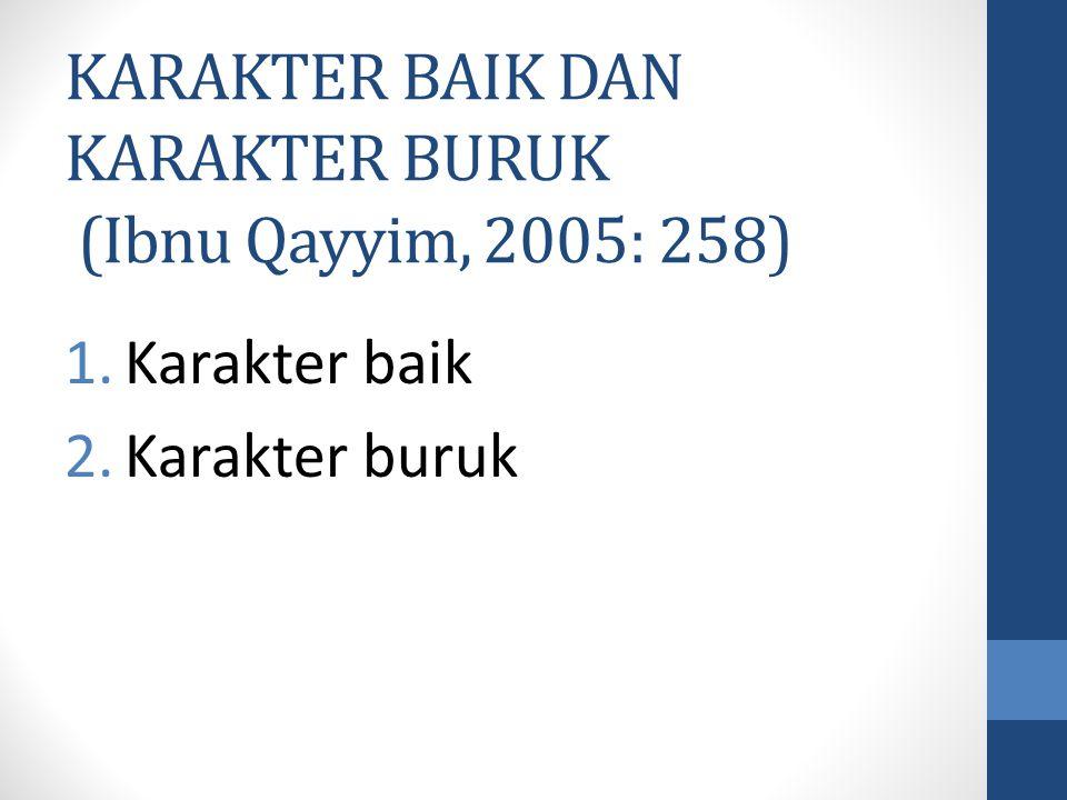 KARAKTER BAIK DAN KARAKTER BURUK (Ibnu Qayyim, 2005: 258)