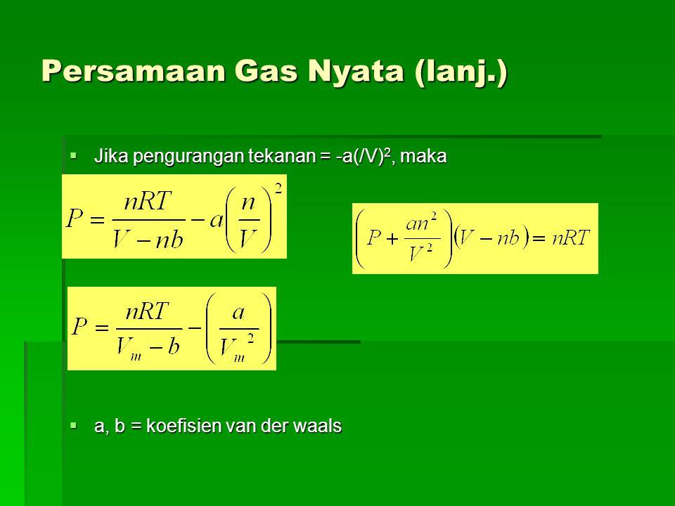 Persamaan Gas Nyata (lanj.)