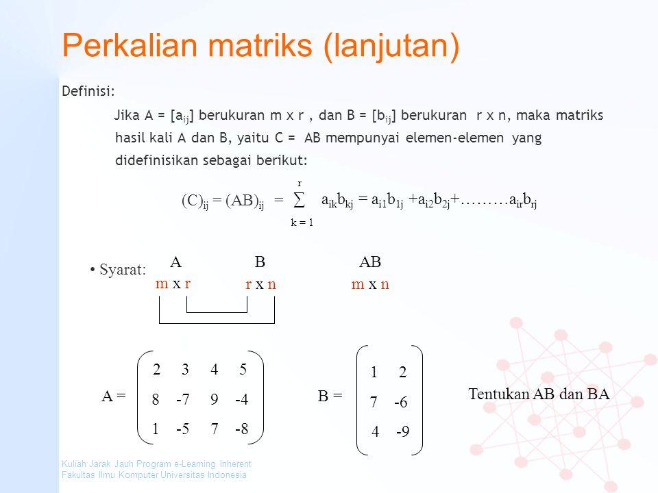 Perkalian matriks (lanjutan)